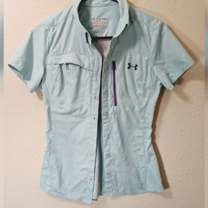 Under Armour blue fishing shirt purple zipper